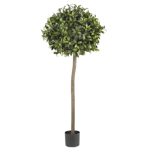 Nearly Natural 5 ft. Green Sweet Bay Ball Topiary Silk Tree