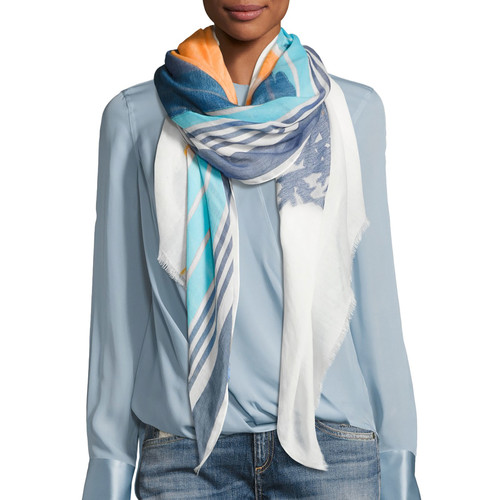 RAG & BONE Striped Sunset Scarf, White Pattern