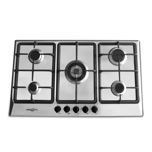 Ancona 34 in. Gas Cooktop in Stainless Steel with 5 Burners including Triple Ring Brass Power Burner