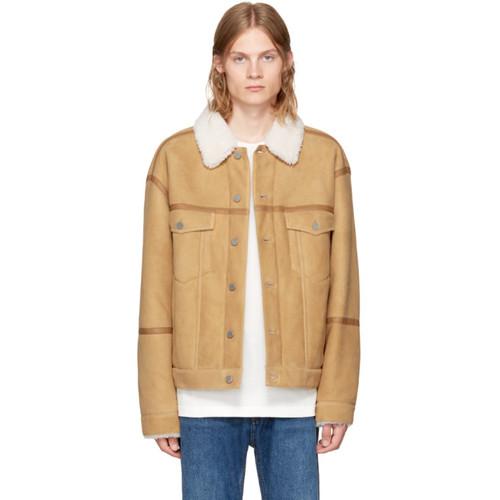 ALEXANDER WANG Khaki Shearling 'Denim' Jacket