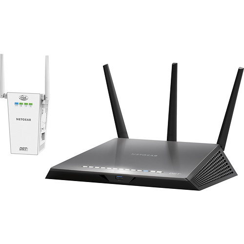 NETGEAR - Refurbished Nighthawk DST AC1900 Dual-Band Wi-Fi Router with DST Adapter - Black