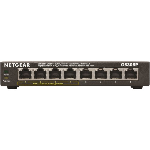 Netgear Gs308p Ethernet Switch - 8 Ports - 10/100/1000base-tx - 8 X Network - Twisted Pair - Gigabit Ethernet - 2 Layer Supported - Ac Adapter - Desktop - 3 Year (gs308p-100nas)