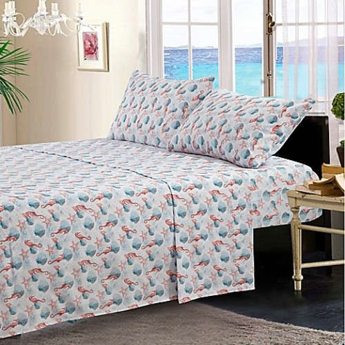 By The Seashore Pink Seahorse Twin Sheet Set in Pink/Blue