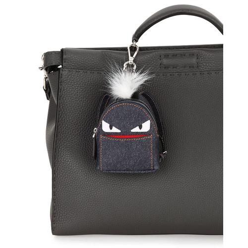 FENDI Monster Denim Backpack Charm W/Fur, Blue