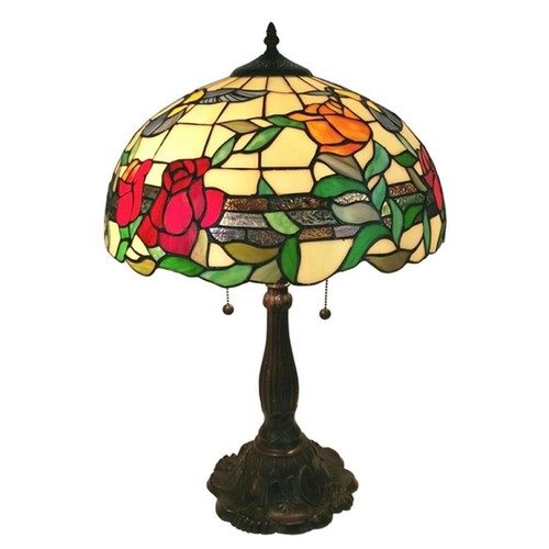 Amora Lighting 24 in. Tiffany Style Floral Finish Table Lamp