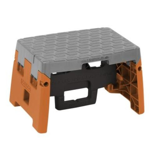 Cosco 1-Step Resin Molded Folding Step Stool Type 1A in Orange, Black and Gray
