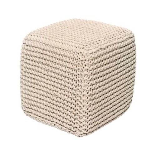 Alcott Hill Laflin Corded Jute Cube Pouf Ottoman; Ivory
