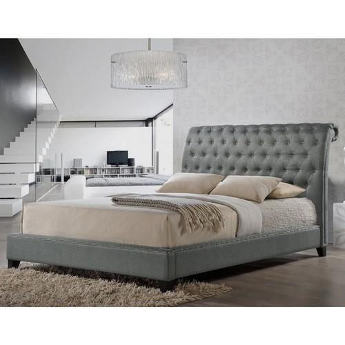 Baxton Studio Jazmin Tufted Modern Bed with Upholstered Headboard, King, Gray [Grey, King]