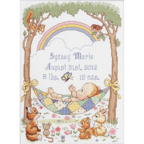 Bucilla Counted Cross Stitch Birth Record Kit, 10 by 13.5-Inch, 45594 Our Little Blessing