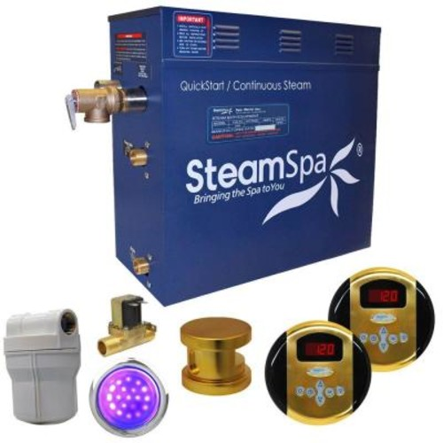 SteamSpa Royal 4.5kW QuickStart Steam Bath Generator Package with Built-In Auto Drain in Polished G