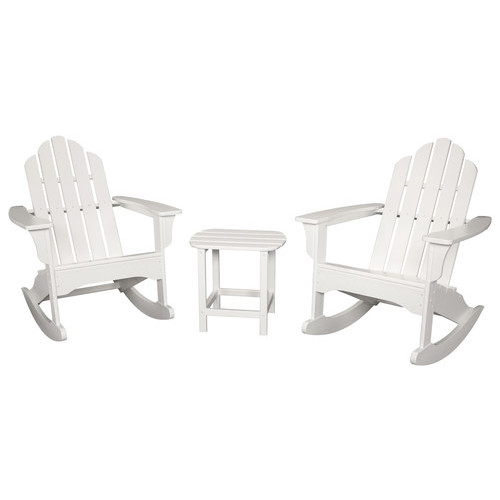 Hanover - All-Weather 3-Piece Rocking Adirondack Patio Set - Timeless White