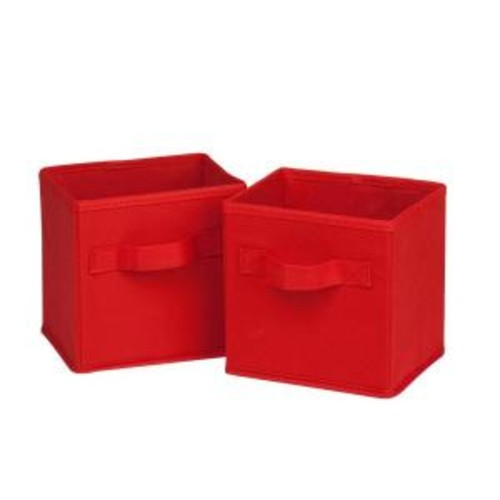 Honey-Can-Do 4.9 Qt. Mini Non-Woven Foldable Cube Bin in Red (6-Pack)