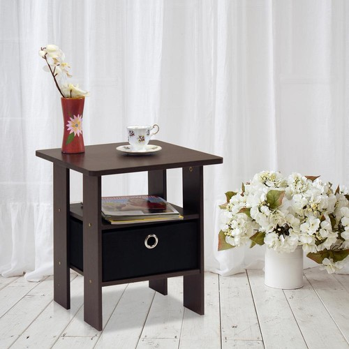 Furinno Dark Brown and Black Storage End Table