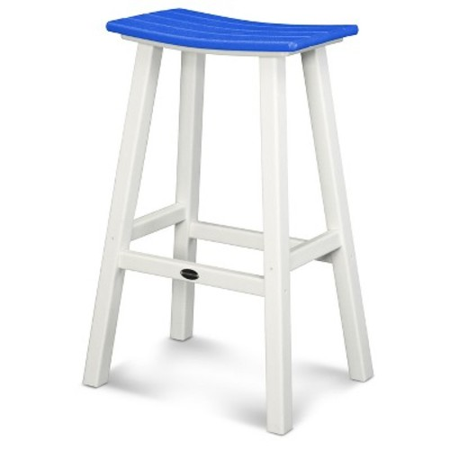 POLYWOOD Contempo Patio Saddle Bar Stool - White/Pacific Blue