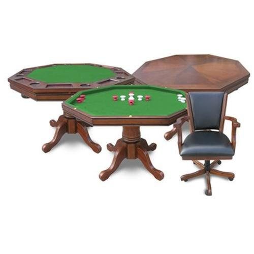Kingston 3-in-1 Poker Table with 4 Chairs - Finish: Walnut