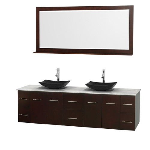 Wyndham Collection Centra 80-inch Double Bathroom Vanity in Espresso, w/ Mirror (Black Granite, Ivory Marble or White Carrera) [option : 80
