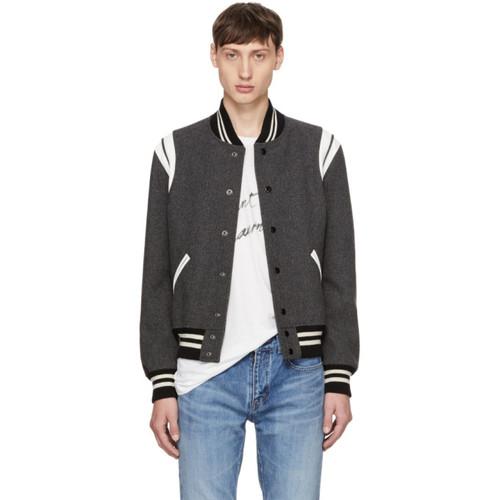 SAINT LAURENT Grey Teddy Bomber Jacket