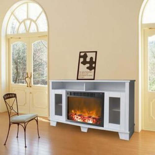 Cambridge Savona CAM6022-1WHT Fireplace Mantel with Electronic Fireplace Insert, White