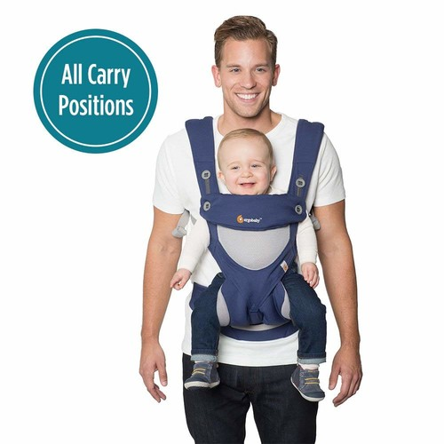 Ergobaby 360 All Carry Positions Award-Winning Cool Air Mesh Ergonomic Baby Carrier, French Blue [French Blue]