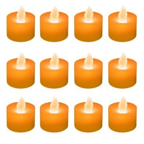 LED Tea Lights (Set of 12), Orange