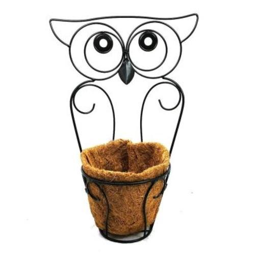 Patio Life Garden Companions 8 in. x 19 in. Black Steel Owl Planter