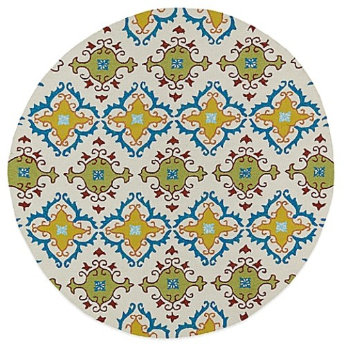 Kaleen Home & Porch Tiles 5-Foot 9-Inch Round Indoor/Outdoor Rug in Ivory