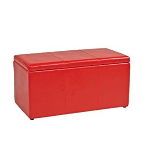 Office Star Metro 3-Piece Bench and Ottoman Cube Set in Vinyl, Red [Red]