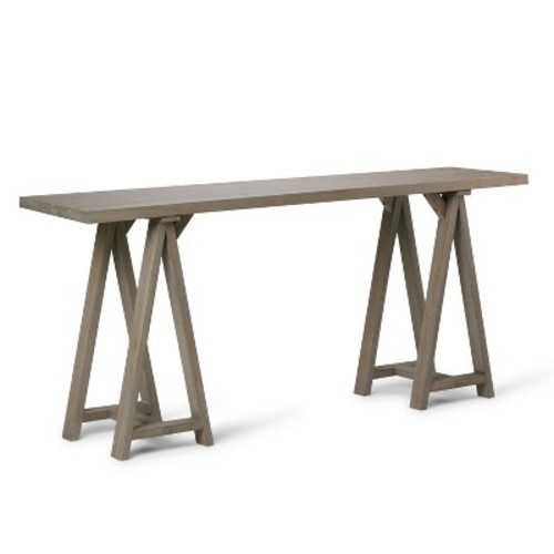 Sawhorse Console Sofa Table - Distressed Gray - Simpli Home