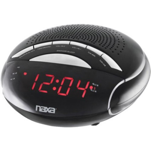NAXA Electronics NRC-170 PLL Digital Dual Alarm Clock with AM/FM Radio and Snooze