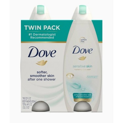Dove Sensitive Skin Body Wash, 22 oz, Twin Pack