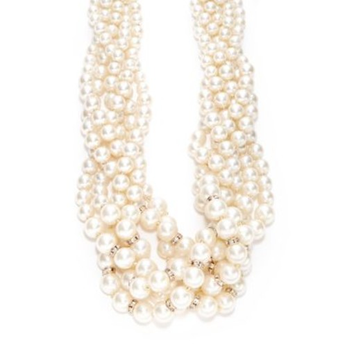 Multi-Row Faux Pearl Cluster Necklace