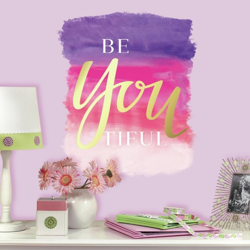RoomMates 5 in. x 19 in. Beyoutiful Quote 1-Piece Peel and Stick Giant Wall Decals