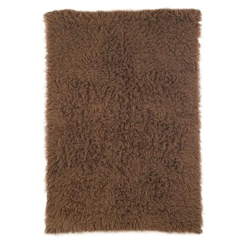 nuLOOM Standard Shag Greek Flokati Wool Area Rug, 3' x 5', Milk Chocolate