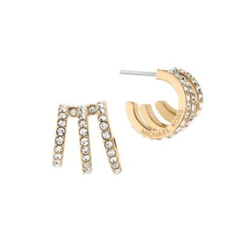 Modern Brilliance Crystal Pav Huggie Earrings/Goldtone