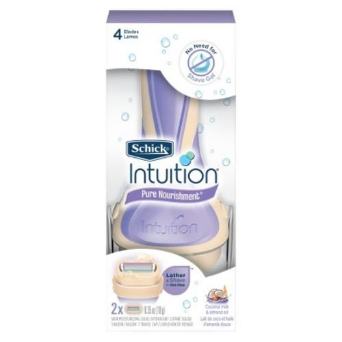 Schick Intuition Pure Nourishment With Coconut Milk And Almond Oil Women's Razor - 1 Razor Handle Plus 2 Razor Refills