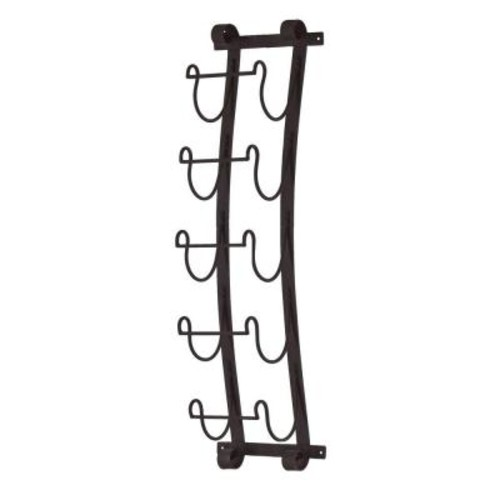 Southern Enterprises Aurinda Wall Mount 5-Bottle Wine Rack in Black