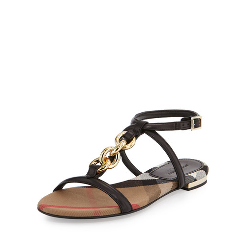 BURBERRY Reasonson Leather T-Strap Sandal, Black