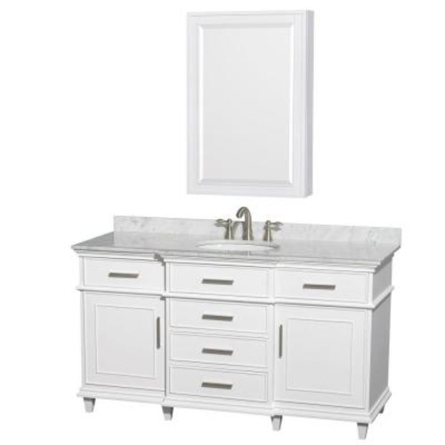 Wyndham Collection Berkeley 60 in. Vanity in White with Marble Vanity Top in White Carrara, Undermount Round Sink and Medicine Cabinet