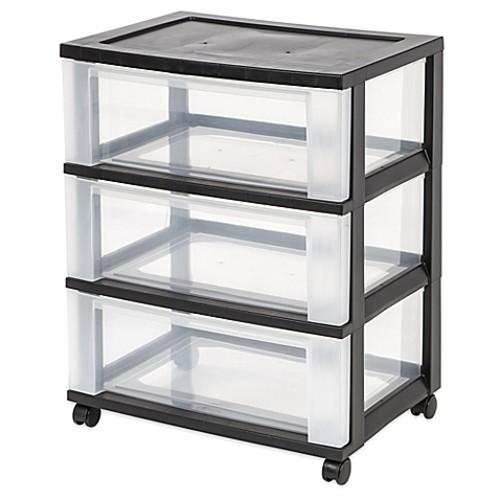 IRIS 3-Drawer Storage Cart in Black