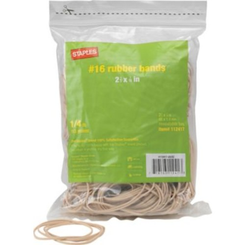 Staples Economy Rubber Bands, Size #16, 1/4 lb.