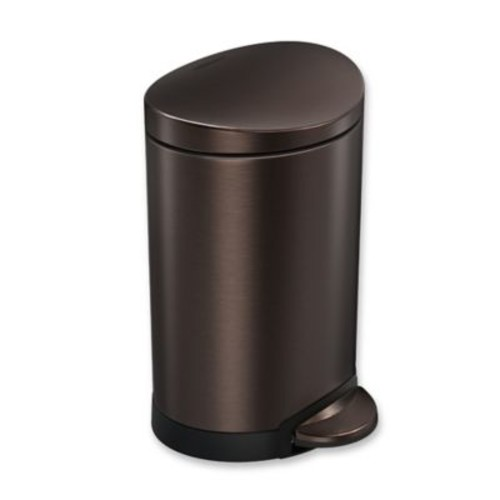 simplehuman 6-Liter Stainless Steel Fingerprint-Proof Semi-Round Step Can in Dark Bronze