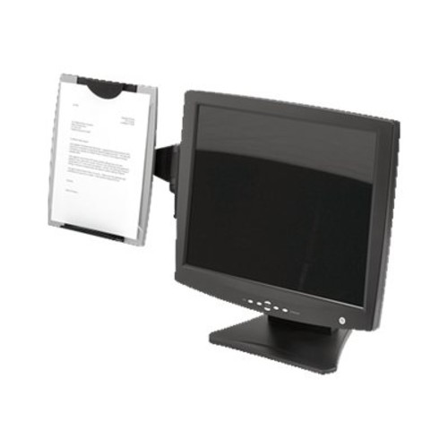 Fellowes Office Suites Monitor Mount Copyholder, Plastic, Holds 150 Sheets, Black/Silver per EA