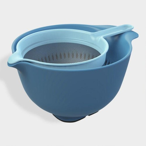 Blue Nesting Mixing Bowl, Colander and Sieve