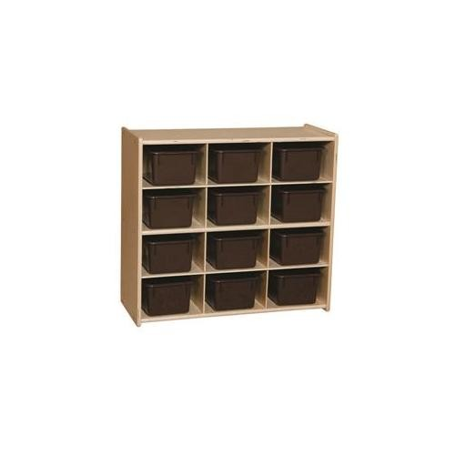 Contender C16122F Contender Baltic Birch 12-Cubby Storage Unit With Chocolate Tubs-Assembled