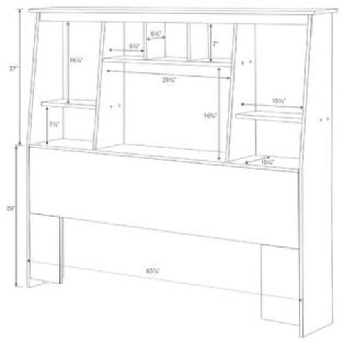 Prepac Chelsea Cherry Full/Queen Tall Slant-Back Bookcase Headboard