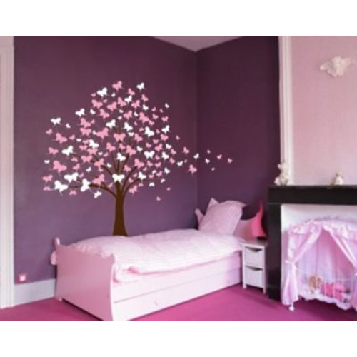 Innovative Stencils Butterfly Cherry Blossom Tree Baby Nursery Wall Decal; Soft Pink/ Pink