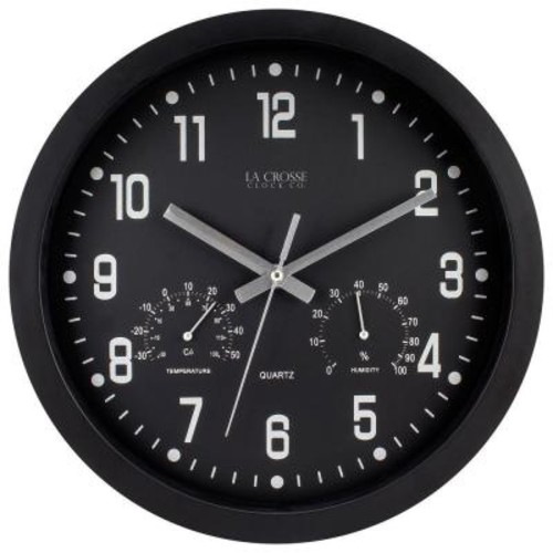 La Crosse Technology 12 in.H Round Black Analog Wall Clock with Temperature and Humidity