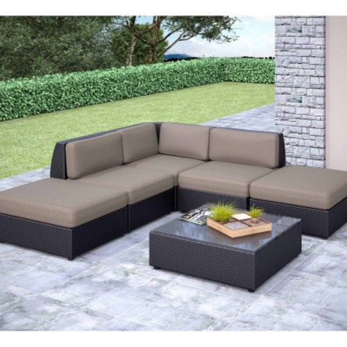 Seattle Curved 6 pc Chaise Lounge Sectional Patio Seating Set