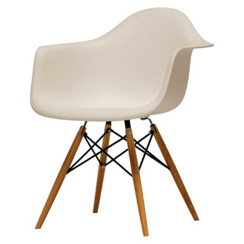 Pascal Beige Plastic Mid-Century Modern Shell Chair Set of 2