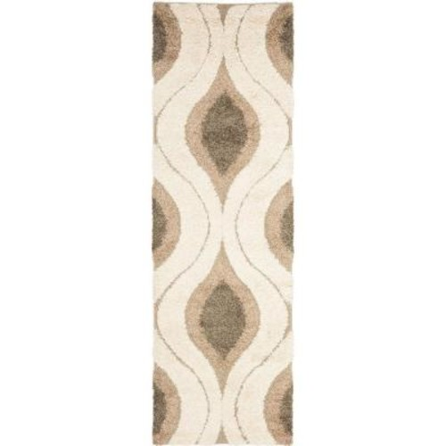Safavieh Florida Shag Cream/Smoke 2 ft. 3 in. x 10 ft. Runner